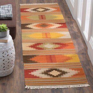 Safavieh Kilim Hand-Woven-Flat-Weave Red/ Multi Wool Runner Rug (2' 3 x 14')