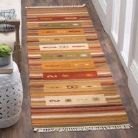 Safavieh Kilim Hand-Woven-Flat-Weave Red/ Multi Wool Runner Rug - 2' 3 x 12'
