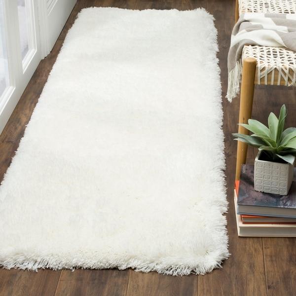 Shop Safavieh Polar Shag White Polyester Runner Rug