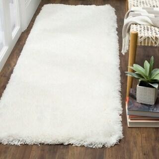 Safavieh Polar Shag White Polyester Runner Rug (2' 3 x 10')