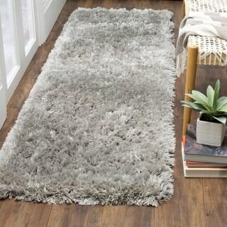 Safavieh Polar Shag Silver Polyester Runner Rug (2' 3 X 6')