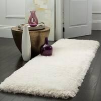 Safavieh Luxe Shag Hand-Tufted Ivory Polyester Runner Rug - 2' 3 x 10'