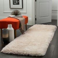 Safavieh Luxe Shag Hand-Tufted Ivory Polyester Runner Rug - 2' 3 x 12'