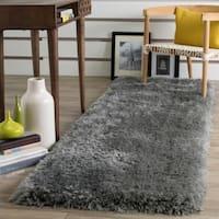 Safavieh Luxe Shag Hand-Tufted Grey Polyester Runner Rug - 2' 3 x 6'