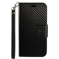 Insten Black Carbon Fiber Leatheretteette Case Cover Lanyard with Stand/ Wallet Flap Pouch For Samsung Galaxy J7 (2016)