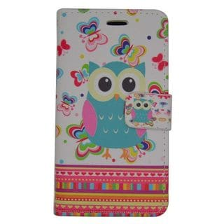 Insten Owl Leatheretteette Case Cover with Stand/ Wallet Flap Pouch For Samsung Galaxy J1 (2016)