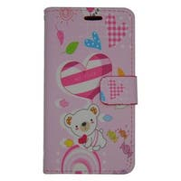 Insten Pink Cute Bear Leatheretteette Case Cover with Stand/ Wallet Flap Pouch For Samsung Galaxy J3 (2016)