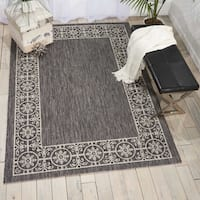 Nourison Garden Party Charcoal Indoor/Outdoor Area Rug