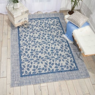 Nourison Garden Party Ivory Blue Indoor/Outdoor Area Rug (5'3X7'5)