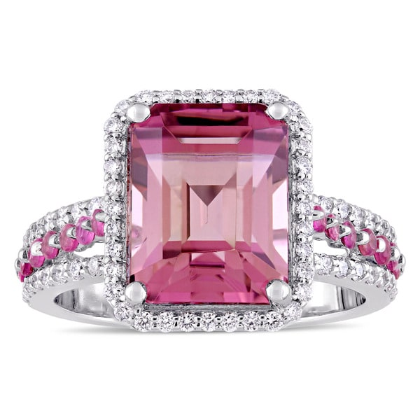 Miadora Signature Collection 14k White Gold Emerald-Cut Pink Tourmaline and 3/5ct TDW Diamond Cocktail Ring