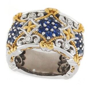 Michael Valitutti Palladium Silver Blue Sapphire & Diamond Band Ring - Size 6