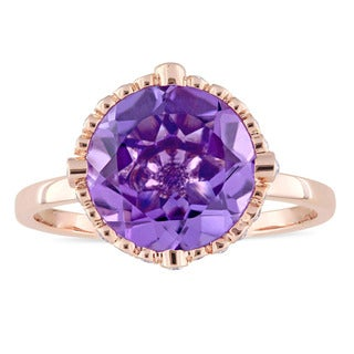 Miadora Signature Collection 14k Rose Gold Amethyst and 1/4ct TDW Diamond Hemisphere Cocktail Ring
