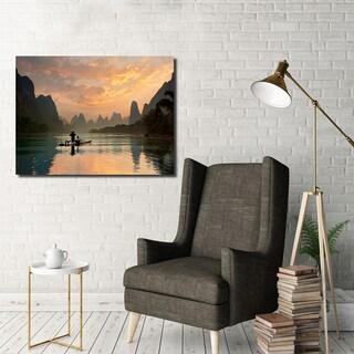 Ready2HangArt Indoor/Outdoor Wall Décor 'Golden Li River' in ArtPlexi - Multi-color