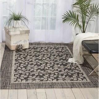Nourison Garden Party Charcoal Indoor/Outdoor Area Rug (5'3X7'5)
