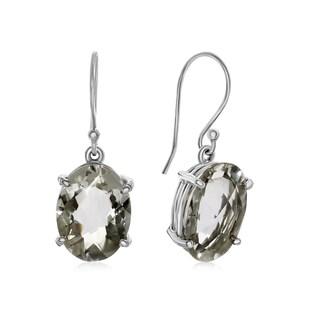 20 TGW Oval Shape Natural Crystal Dangle Earrings In Sterling Silver