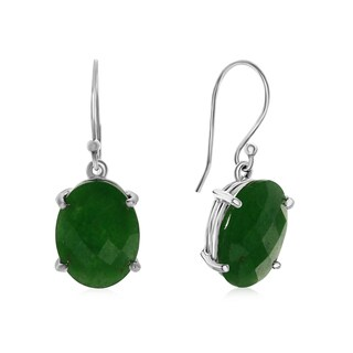 20 1/4 TGW Oval Shape Jade Dangle Earrings In Sterling Silver