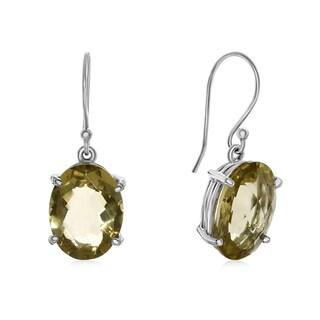 18 3/4 TGW Oval Shape Lemon Quartz Dangle Earrings In Sterling Silver - Yellow