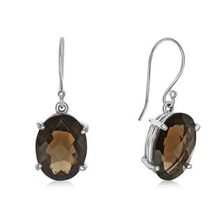 19 1/2 TGW Oval Shape Smoky Quartz Dangle Earrings In Sterling Silver