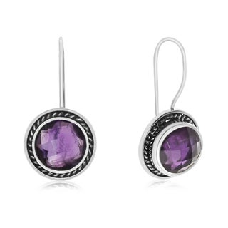 8 1/2 TGW Amethyst Earrings In Sterling Silver With Rope Detail