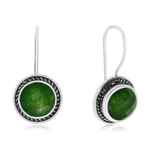 6 1/2 TGW Green Jade Earrings In Sterling Silver With Rope Detail
