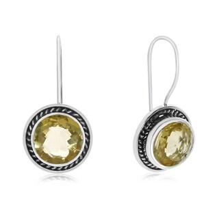 7 TGW Lemon Quartz Earrings In Sterling Silver With Rope Detail