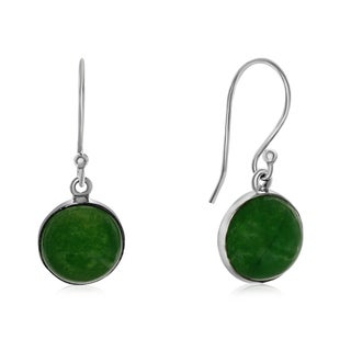 7 1/2 TGW Cabochon Cut Green Jade Earrings In Sterling Silver