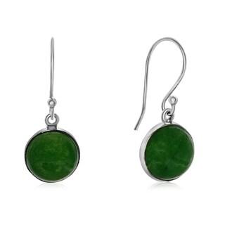 7 1/2 TGW Cabochon Cut Green Jade Earrings In Sterling Silver