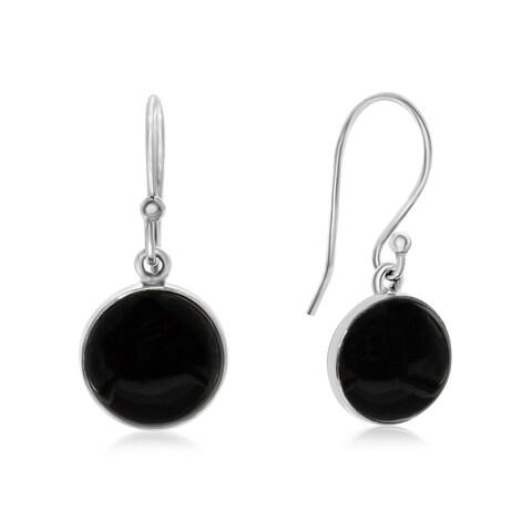 8 TGW Cabochon Cut Black Onyx Earrings In Sterling Silver
