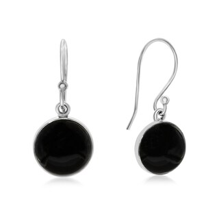 8 TGW Cabochon Cut Black Onyx Earrings In Sterling Silver