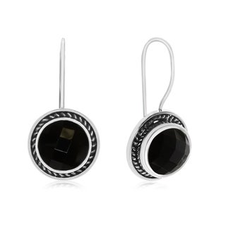 6 TGW Black Onyx Earrings In Sterling Silver With Rope Detail