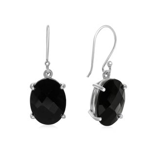 19 TGW Oval Shape Black Onyx Dangle Earrings In Sterling Silver