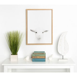 DesignOvation Sylvie Baby Goat Black and White Portrait Natural Framed Canvas Wall Art by Simon Te Tai