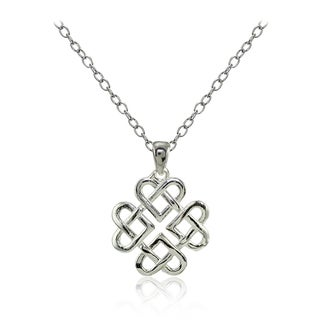 Mondevio Sterling Silver High Polished Celtic Love Knot Necklace (Option: Pink)