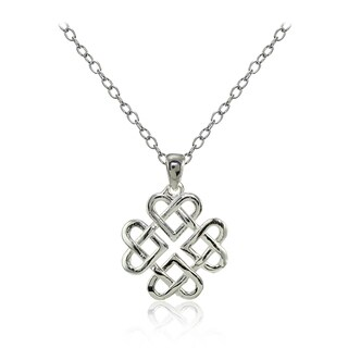 Mondevio Sterling Silver High Polished Celtic Love Knot Necklace (Option: Gold Plate - Pink)