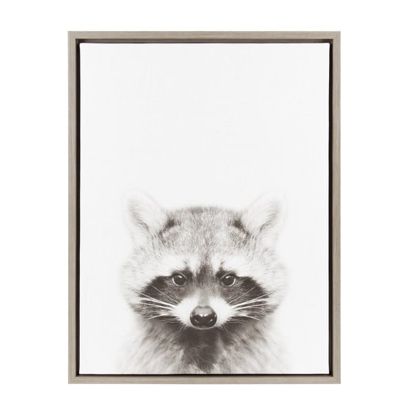 Designovation Sylvie Raccoon Black And White Portrait Grey