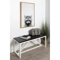DesignOvation Sylvie Raccoon Black and White Portrait Grey Framed Canvas Wall Art by Simon Te Tai