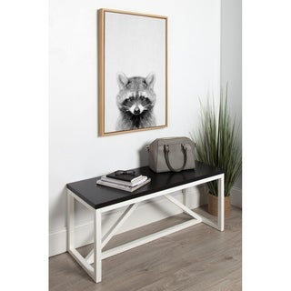 DesignOvation Sylvie Raccoon Black and White Portrait Grey Framed Canvas Wall Art by Simon Te Tai
