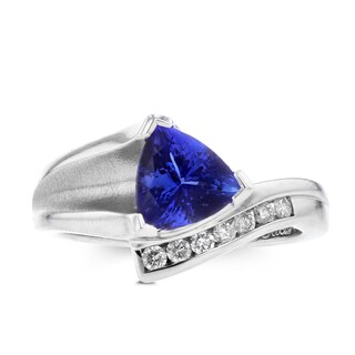 La Vita Vital 18K White Gold Trillion Tanzanite 2.17cts and Diamond 0.24ct TDW (SI1-VS, G-H) Ring
