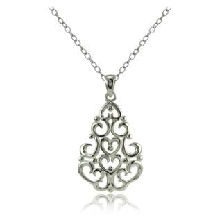 Mondevio Sterling Silver High Polished Chandelier Filigree Necklace