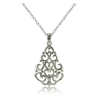 Mondevio Sterling Silver High Polished Chandelier Filigree Necklace (3 options available)
