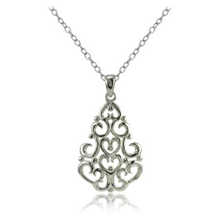 Mondevio Sterling Silver High Polished Chandelier Filigree Necklace (Option: Gold Plate - Pink)