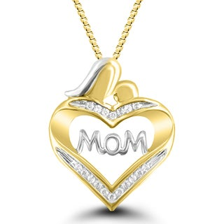 10k Yellow Gold and 1/10-carat Diamond Mom and Child Heart Pendant