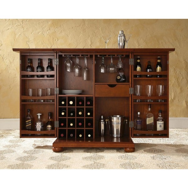 15 Majestic Contemporary Home Bar Designs For Inspiration: Shop Alexandria Vintage Mahogany Expandable Bar Cabinet
