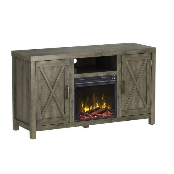humboldt tv stand for tvs up to 55 with electric fireplace spanish gray free shipping today. Black Bedroom Furniture Sets. Home Design Ideas