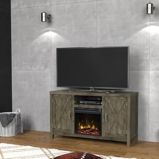 "Humboldt TV Stand for TVs up to 55"" with Electric Fireplace, Spanish Gray"