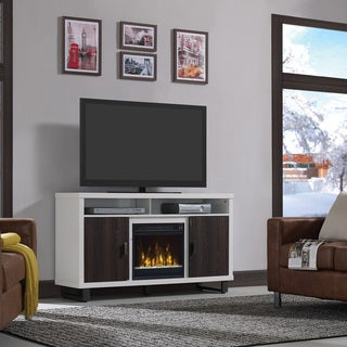 "Van Horne TV Stand for TVs up to 60"" with Electric Fireplace, White"