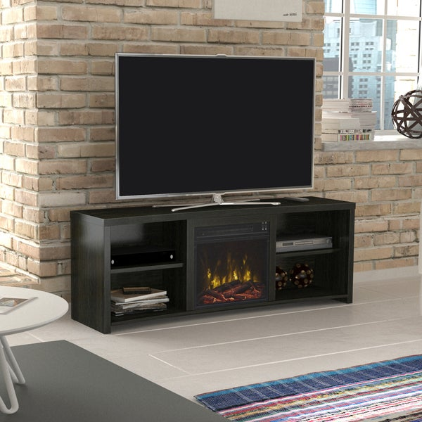"""Shelter Cove TV Stand for TVs up to 65"""" with Electric Fireplace, Black Walnut"""