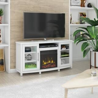 "Rossville TV Stand for TVs up to 60"" with Electric Fireplace, White