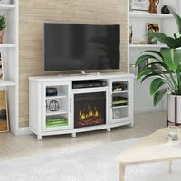 "Rossville TV Stand for TVs up to 60"" with Electric Fireplace, White"