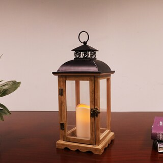 Puleo International 14 1/2 inch tall Wood and Metal Lantern with LED Candle